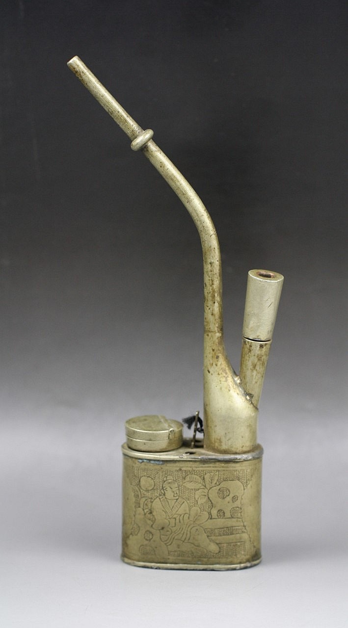 A Vintage Chinese White Brass Opium Pipe