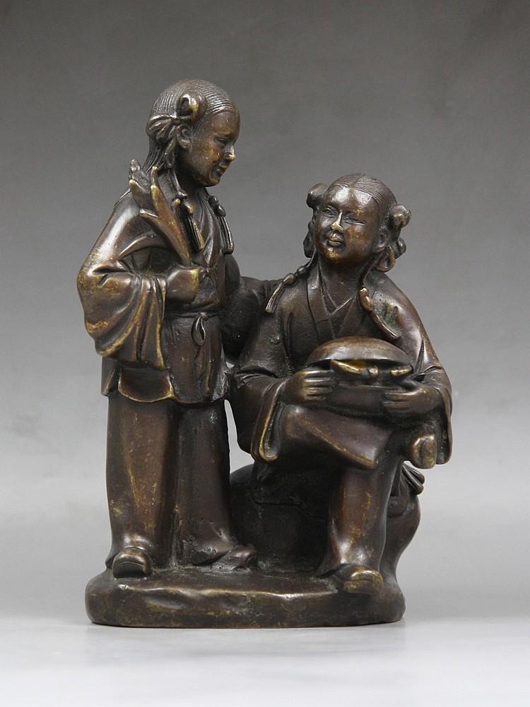 Antique Chinese Bronze Statue Of 'He He Er Xian'