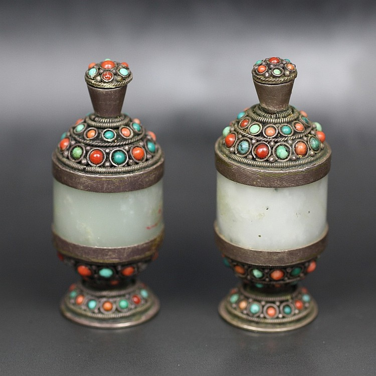 Pair Of Tibetan Jeweled Jade Snuff Bottles