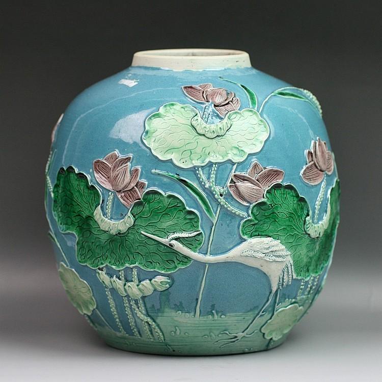 Rare Wang Bingrong-Inscribed Carved Porcelain Jar