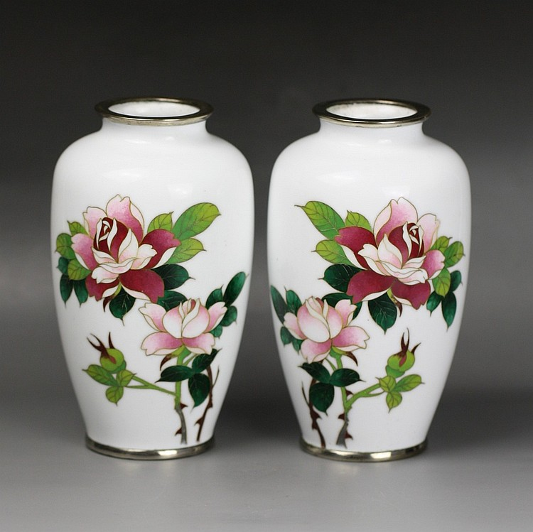 Pair Of Japanese Wired Silver Cloisonne Vases