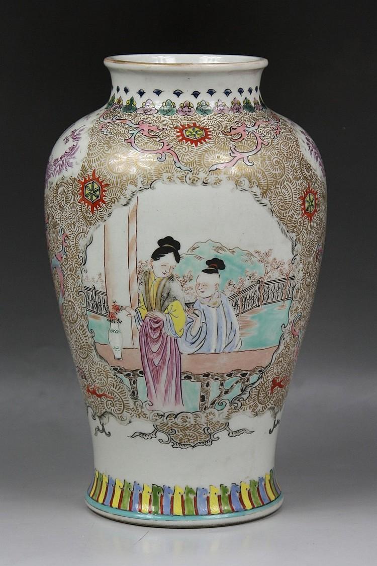 Rare Japanese Chinoiserie Famille Rose Vase