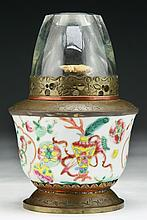 A Chinese Famille Rose Porcelain Lamp