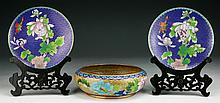 Three (3) Chinese Cloisonne Pair Plates & Bowl