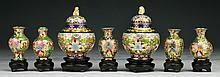 Seven (7) Chinese Miniature Cloisonne On Bronze Vases