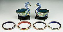 Six (6) Chinese Cloisonne On Bronze Bangles & Pair Swans