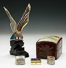 Five (5) Chinese Antique Lacquer Boxes & Cloisonne Eagle