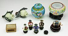 Ten (10) Chinese Cloisonne & Jade Or Like Items