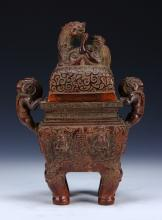 A Rare And Fine Chinese Bamboo Carved Censer, Fangding