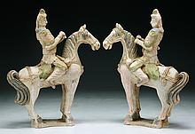 Two (2) Chinese Pottery Warrior Figures on Horses