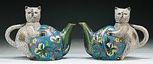 Pair of Chinese Cloisonne Bronze Teapots