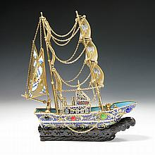 A Chinese Antique Export Jeweled Cloisonne Galleon