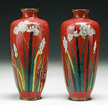 Pair of Japanese Antique Silver Ando Vases