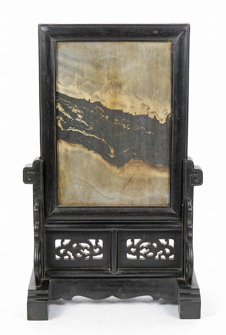 A Chinese Antique Marble Hardwood Table Screen