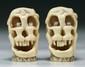 Pair Japanese Antique Carved Ivory Shunga Skulls