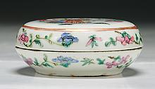 A Chinese Antique Famille Rose Porcelain Ink Case