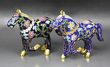 Pair Chinese Antique Gilt Bronze Cloisonne Horses