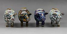 Group of Four Gilt-Bronze Cloisonne Enamel Pigs