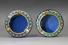 Pair Chinese Gilt-Brass Cloisonne Enamel Ashtrays