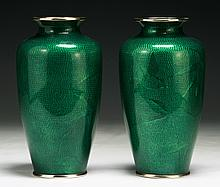Pair of Japanese Silver Ando Cloisonne Vases