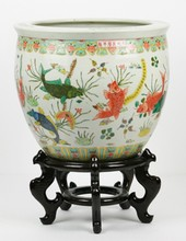 A Chinese Antique Famille Rose Porcelain Fish Bowl