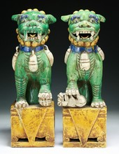 Pair of Chinese Antique Famille Noire Porcelain Lions