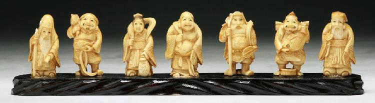 Lot 177 Set Antique Carved Ivory Seven 7 Lucky Gods