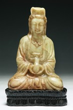 A Chinese Antique Stone Carved Guanyin