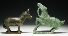 Two (2) Chinese Antique Stone Carvings: Donkey & Horse