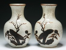 Pair of Chinese Antique Ge Glazed Vases