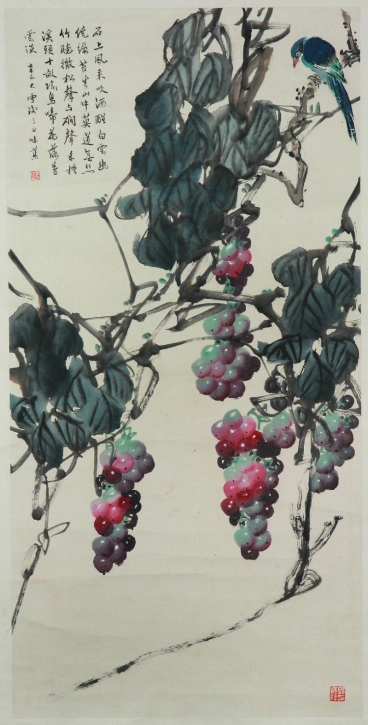 A Chinese Paper Hanging Painting Scroll By Guo Weiqu