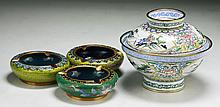 Four (4) Chinese Cloisonne Bronze Ash Trays & Bowl With Cover