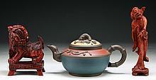 Three (3) Chinese Wood Items & Zisha Teapot