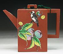 A Chinese Antique Polychrome Yixing Zisha Teapot