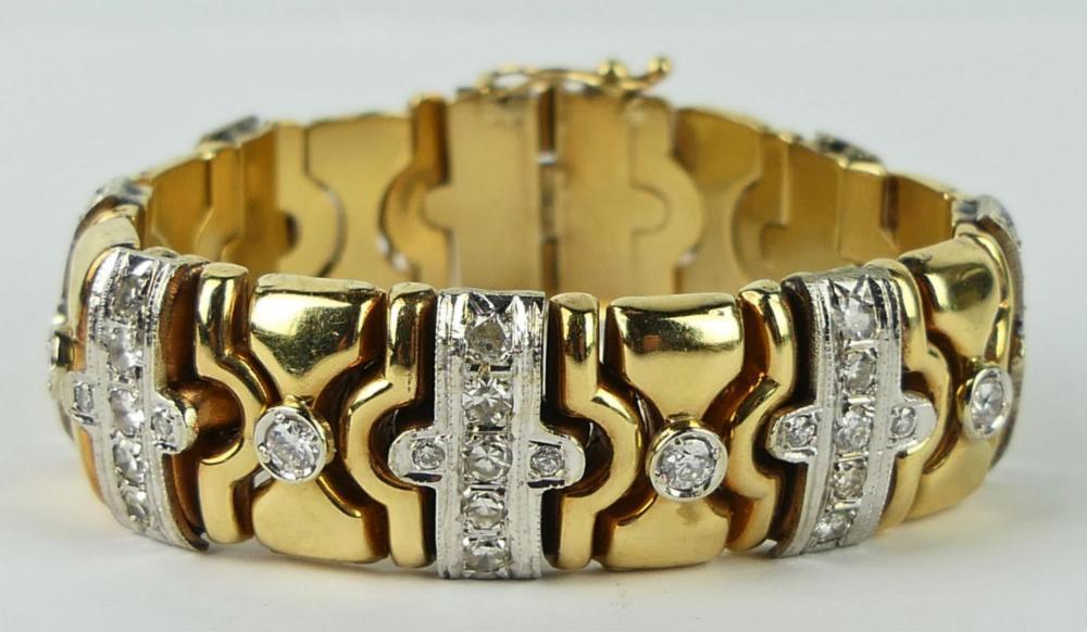 14K YELLOW GOLD DIAMOND 15MM BRACELET