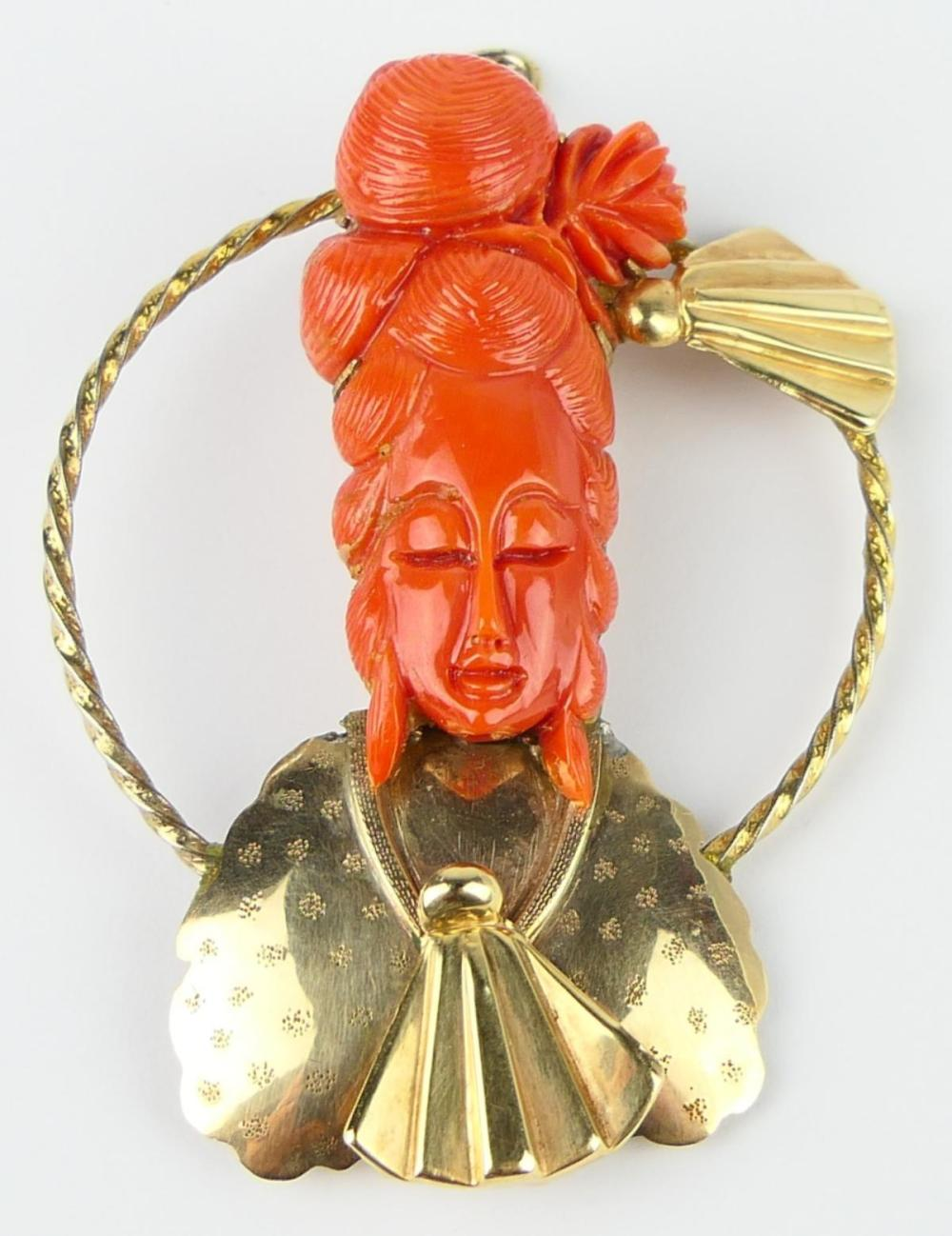 """CHINESE 18K CARVED RED CORAL 3 3/4"""" PIN / PENDANT"""