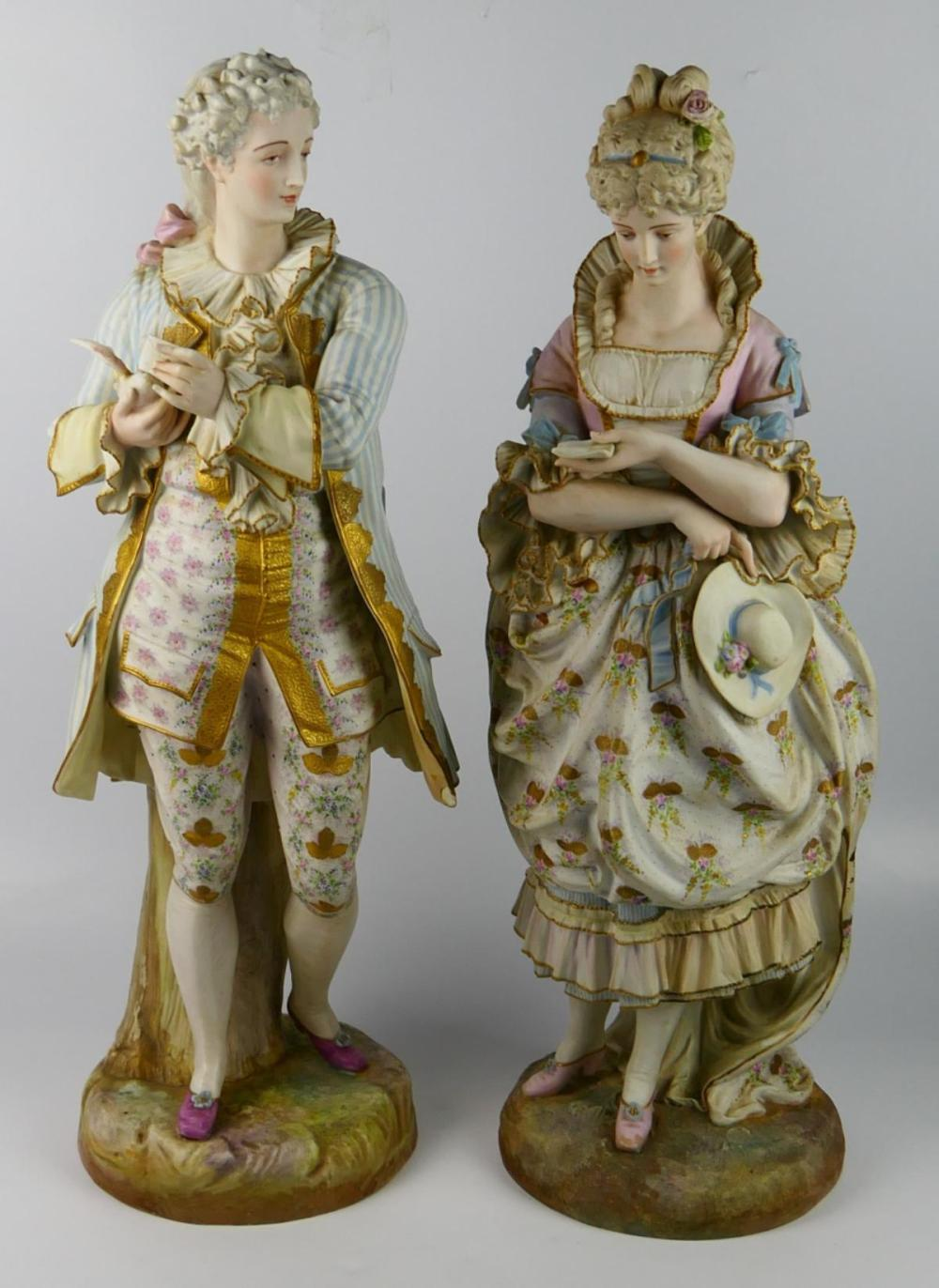 LARGE PAIR 19TH CENTURY CHANTILLY BISQUE FIGURINES