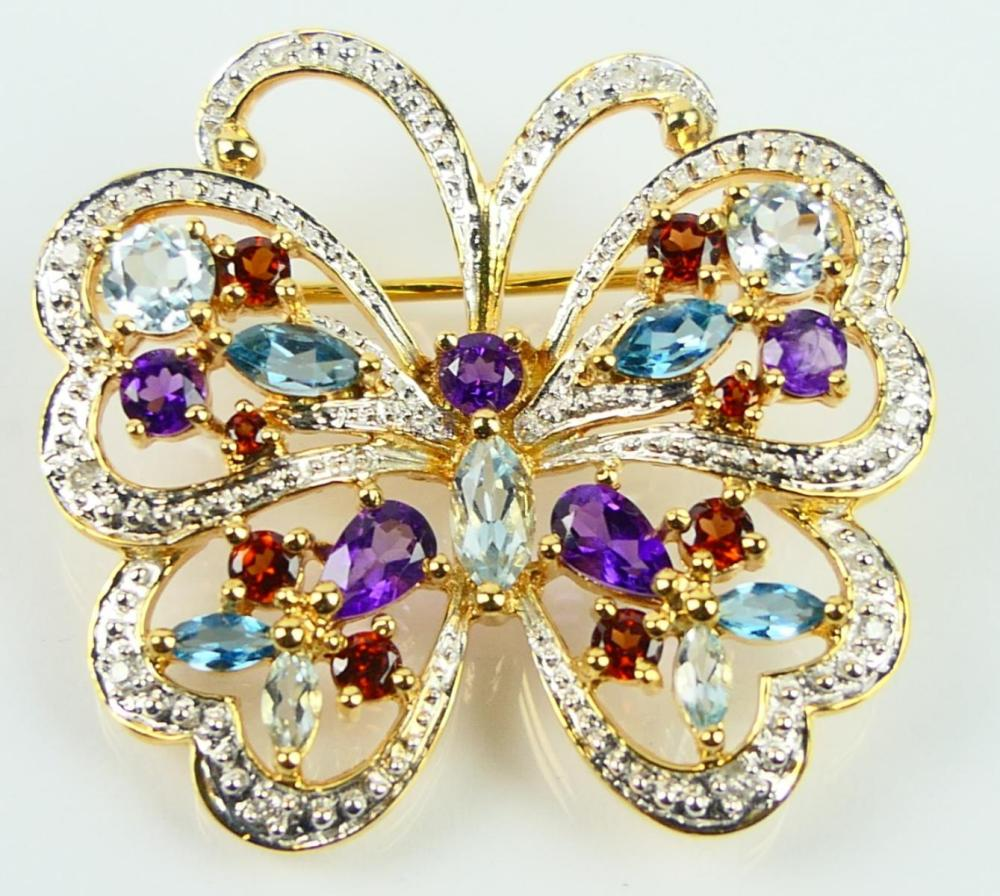 14KT Y GOLD DIAMOND AND GEMSTONE BUTTERFLY PIN