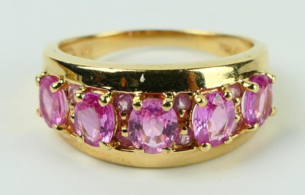 14KT YELLOW GOLD & AMETHYST LADIES BAND