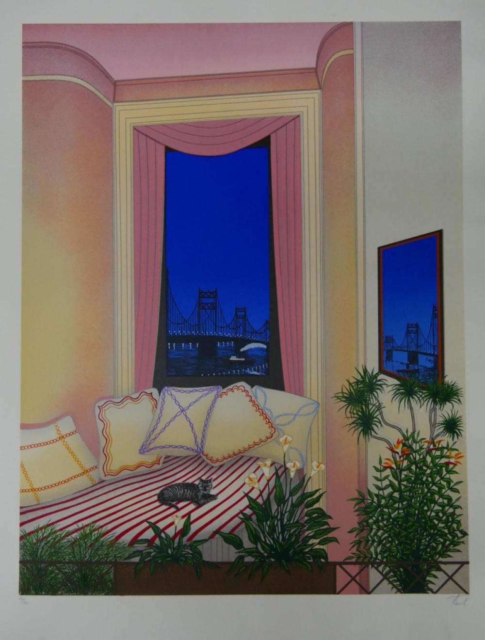 "FANCH LEDEN ""CAT ON BED"" LITHOGRAPH"