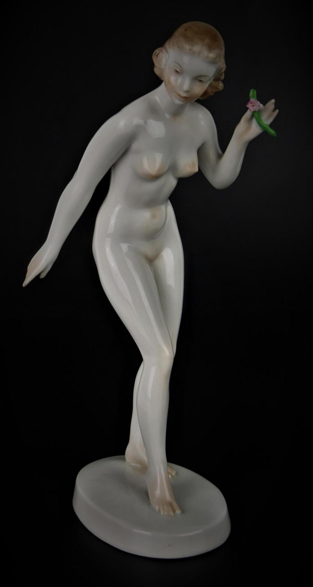 ART DECO HEREND NUDE WITH FLOWER