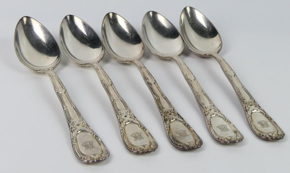 """TIFFANY """"0LD FRENCH"""" STERLING 1899 5 PIECE SERVING"""