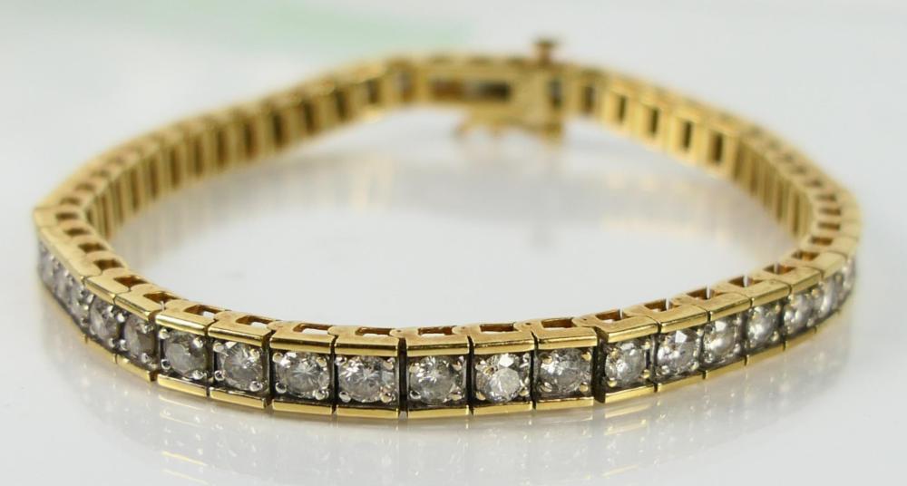 14KT YELLOW GOLD 5ct DIAMOND TENNIS BRACELET