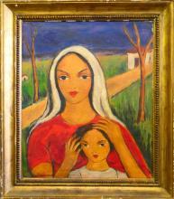 VICTOR MANUEL (CUBA 1897-1969) PORTRAIT OIL/CANVAS