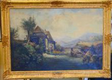 NICHOLAS BRIGANTI (1861-1944) LARGE LANDSCAPE OIL