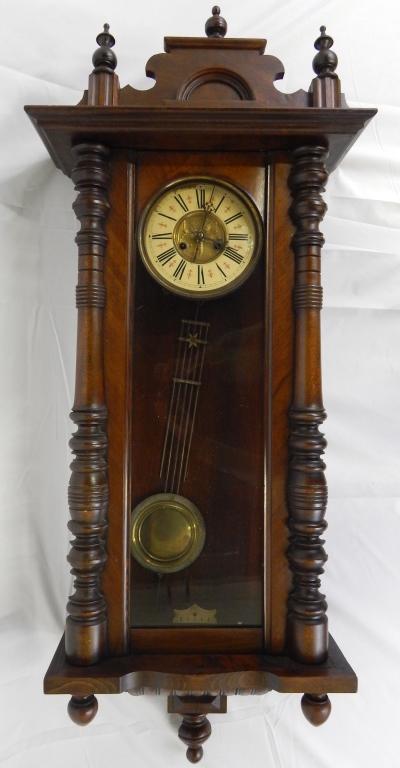 Antique Victorian Wood Pendulum Wall Clock