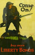 1918 COME ON! BUY MORE LIBERTY BONDS WWI POSTER