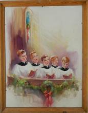 NANA BICKFORD ROLLINS BOYS CHOIR PASTEL ON BOARD