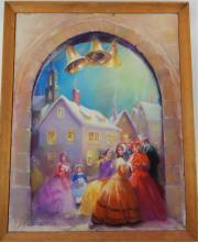 NANA BICKFORD ROLLINS CHRISTMAS CAROL PASTEL WORK