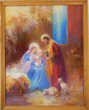 NANA BICKFORD ROLLINS JESUS MARY & JOSEPH PASTEL